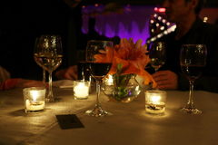CANDLE LIGHT DINNER TABLE. Setting in a restaurant Stock Image