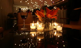 CANDLE LIGHT DINNER TABLE. Setting in a restaurant Royalty Free Stock Image