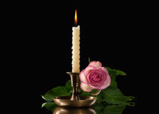 Candle light  with flower on black background Stock Image