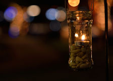 Candle light in glass jar Royalty Free Stock Photography