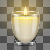 Candle light in a glass jar. Vector realistic illustration. Stock Photo