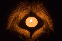 Free Candle Light Glowing In Woman`s Hands. Praying, Faith, Religion Concept. Stock Photo - 110716190