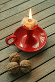 Candle Light and  Nuts Stock Image