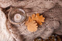 Free Candle Light,pink Scarf On A Wooden Background. Winter Cosiness Mood, Top View, Cozy Winter Autumn Evening Stock Photos - 126385263
