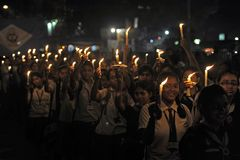 Candle Light Rally royalty free stock images