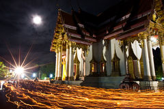 Candle light trail of Buddhism Ceremony Royalty Free Stock Images