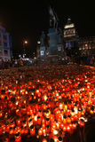 Candle light for Vaclav Havel Stock Image