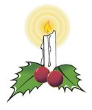 Candle lighted. With two leaves and two grapes Royalty Free Stock Photo