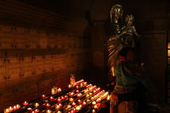 Candle lighted Virgin Mary in Marseille, France Stock Image
