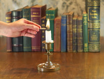 Candle lighting Royalty Free Stock Photos