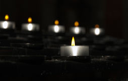 Candle lights. In the church royalty free stock image