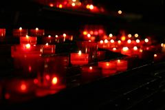Candle Lights. In the Chapel of a Church stock images