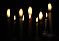 Candle lights. In Hanukkah traditional Juish holiday Stock Photo