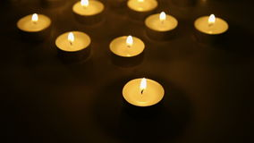 Candle lights background, tea light candles decoration stock video