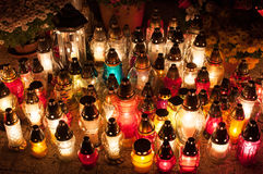 Candle lights at cemetery Stock Photo