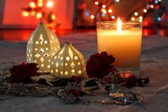 Candle and lights royalty free stock photo