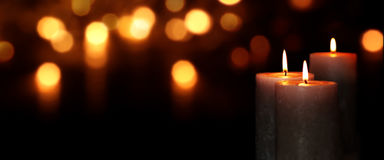 Candle lights in the darkness Royalty Free Stock Photo