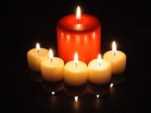 Candle lights with reflections Stock Image