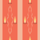 Candle lights. Seamless texture with candles and pattern on orange background Royalty Free Stock Image