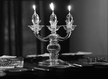 Candle lights on the table Royalty Free Stock Images