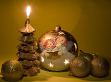 Candle like christmas tree. And beautiful toys Royalty Free Stock Images