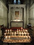 Candle Lit Abbey Interior Stock Images