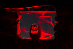 Candle Lit Halloween Pumpkins Stock Images