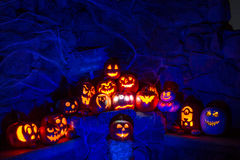 Candle Lit Halloween Pumpkins Royalty Free Stock Photography