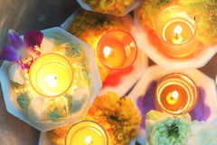 Candle lit thai culture flower walk in Asalha Puja day, Magha Puja day, Visakha Puja Day Stock Photo