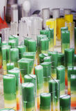 Candle making at a chandler. Decorative candlemaking using colorful wax at a professional chandler Stock Photos
