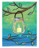 Candle in the mason jar watercolor doodle Royalty Free Stock Photography