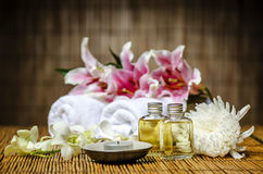 Candle and massage oil Stock Photo
