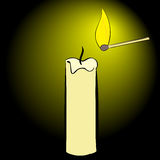 Candle and matchstick. Candle in the dark and the lit matchstick with fire royalty free illustration