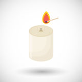 Candle and matchstick  flat icon Royalty Free Stock Photo