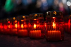 Candle of memory. Candles of memory the night of June 22. Closeup. June 22 - the beginning of the Great Patriotic War. Low DOF royalty free stock image