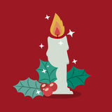 Candle of Merry Christmas design. Candle icon. Merry Christmas season decoration figure theme. Colorful design. Vector illustration Royalty Free Stock Photo