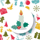 Candle of Merry Christmas design. Candle inside circle icon. Merry Christmas season and decoration theme. Colorful design. Vector illustration Royalty Free Stock Photography