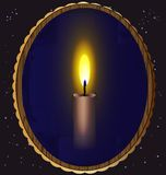 Candle and mirror. In the night sky a mirror which reflects a burning candle Stock Image