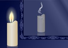 Candle and mirror. Burning candle and extinct candles reflection in a mirror Royalty Free Stock Photo
