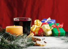 Free Candle, Mulled Wine And Christmas Gifts Royalty Free Stock Photos - 16945098