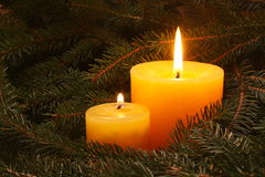Candle in needles Stock Images