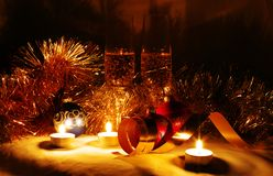 Candle in new year stuf Stock Images