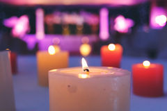 Candle in the night wedding party Stock Photos