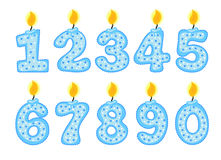 Candle number set, illustration of birthday candles on a white background, Stock Images
