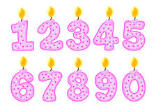 Candle number set, illustration of birthday candles Royalty Free Stock Photos