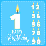 Candle numbers for birthday celebration. Set of candle numbers. Holiday typography and lettering Stock Photos