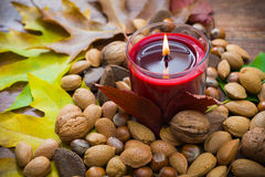 Candle with nuts Royalty Free Stock Photo