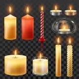 Candle o incêndio Encere velas para o partido do xmas, a luz de vela romântica do calor e símbolo flamejante do vetor do nightlig ilustração royalty free