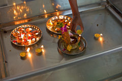 Candle offerings. On a hindu temple Stock Photography