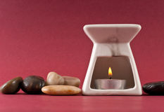 Candle In Oil Burner Stock Photos